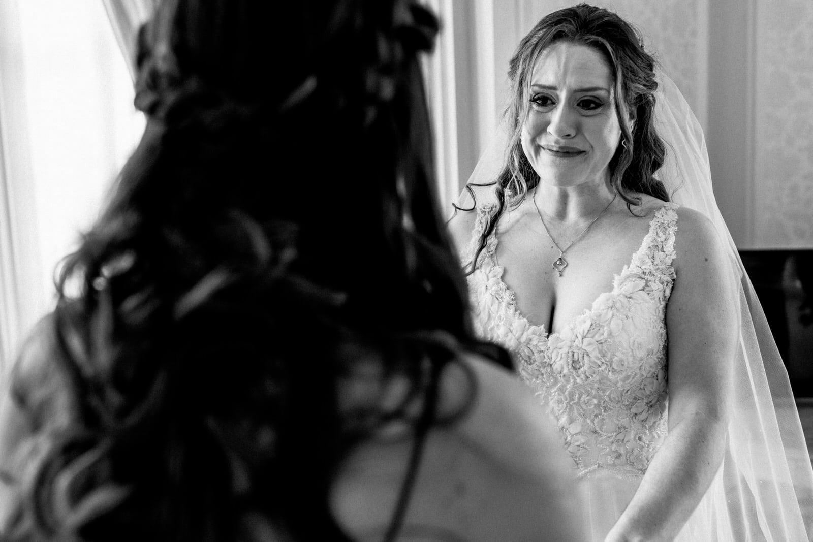 bride shedding a tear at hedsor house wedding