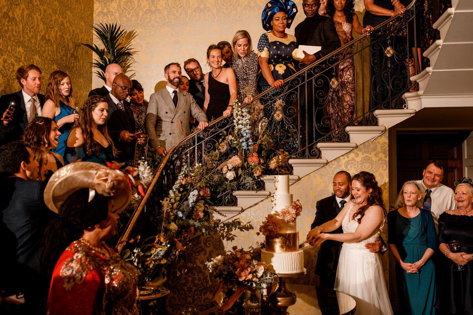 cake cut at hedsor wedding venue
