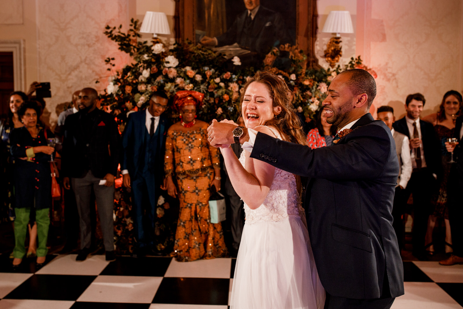 bride and groom first dance at hedsor house wedding