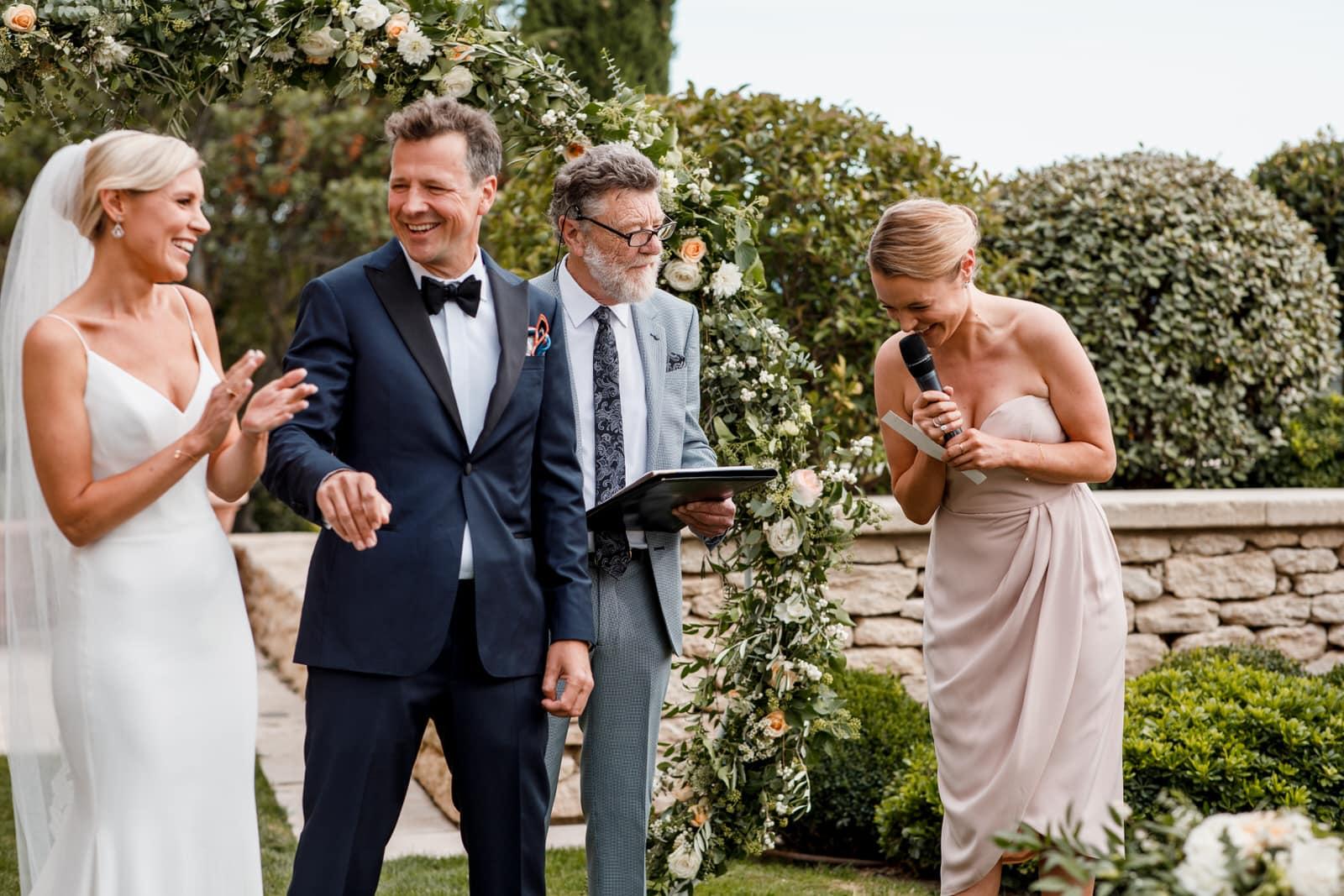 wedding reading at garden in airelles hotel wedding