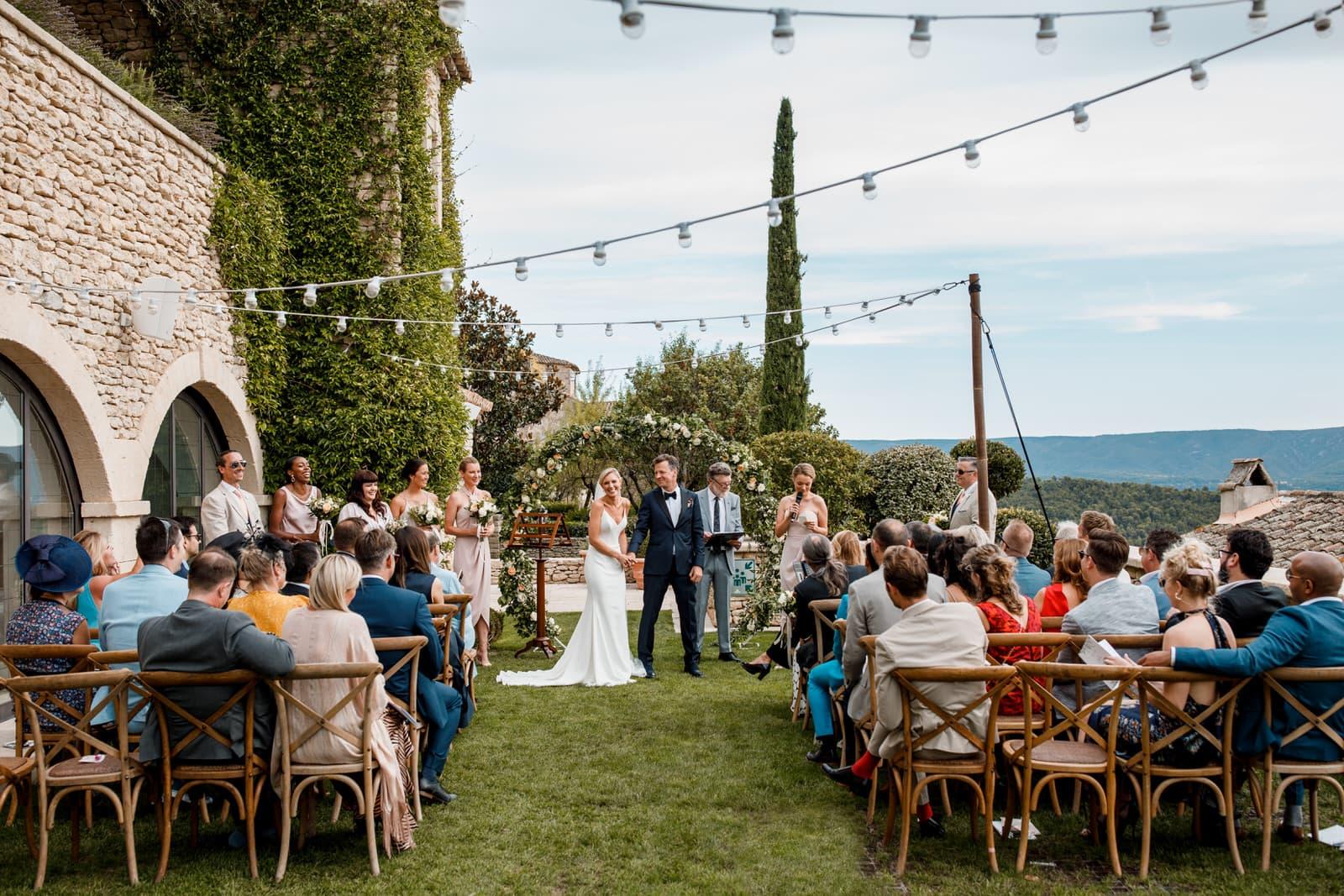 wedding in garden at airelles hotel in bastide de gordes