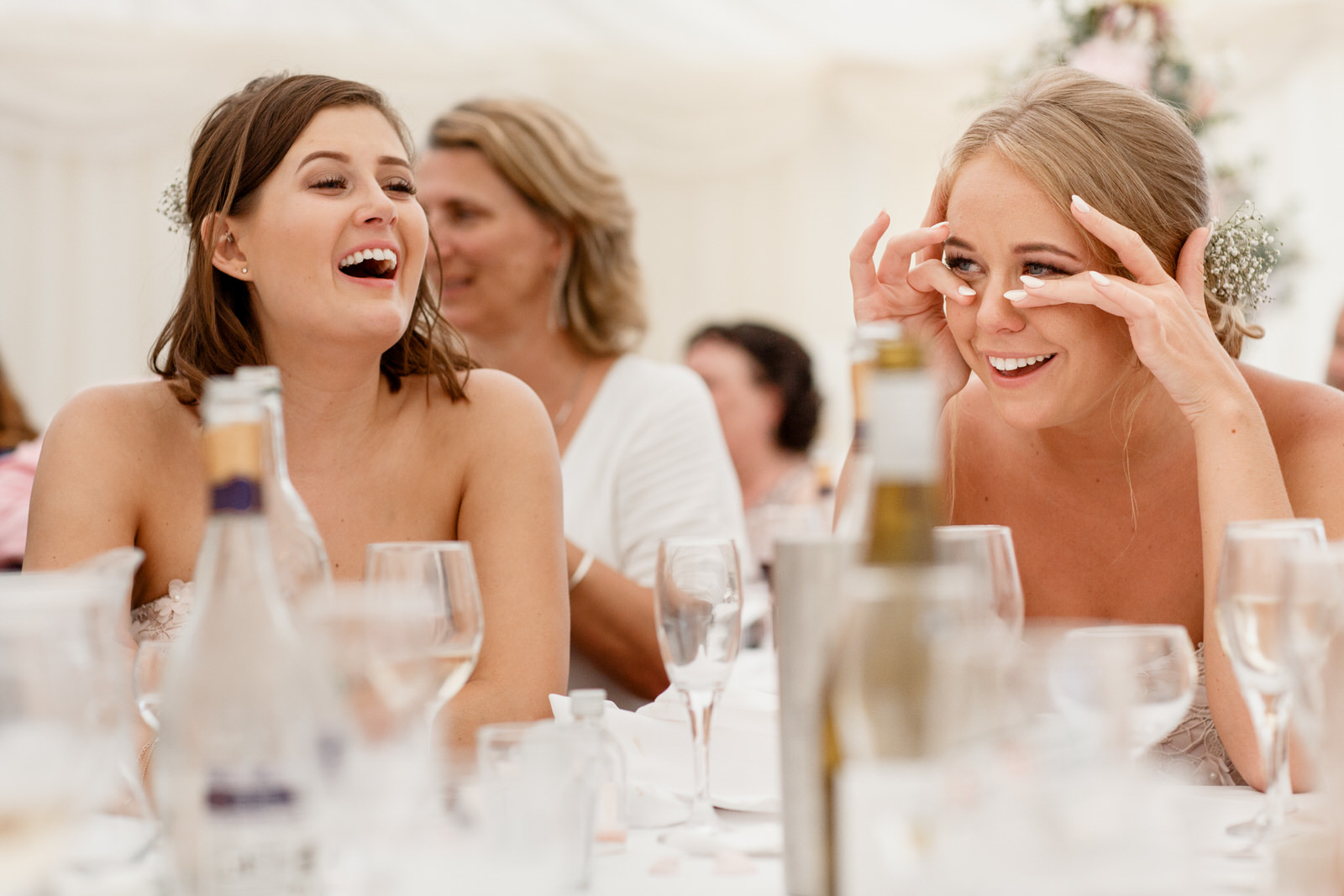 tears of laughter at wedding speeches