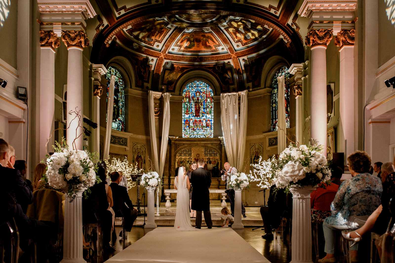 bride and groom at ceremony in one marylebone