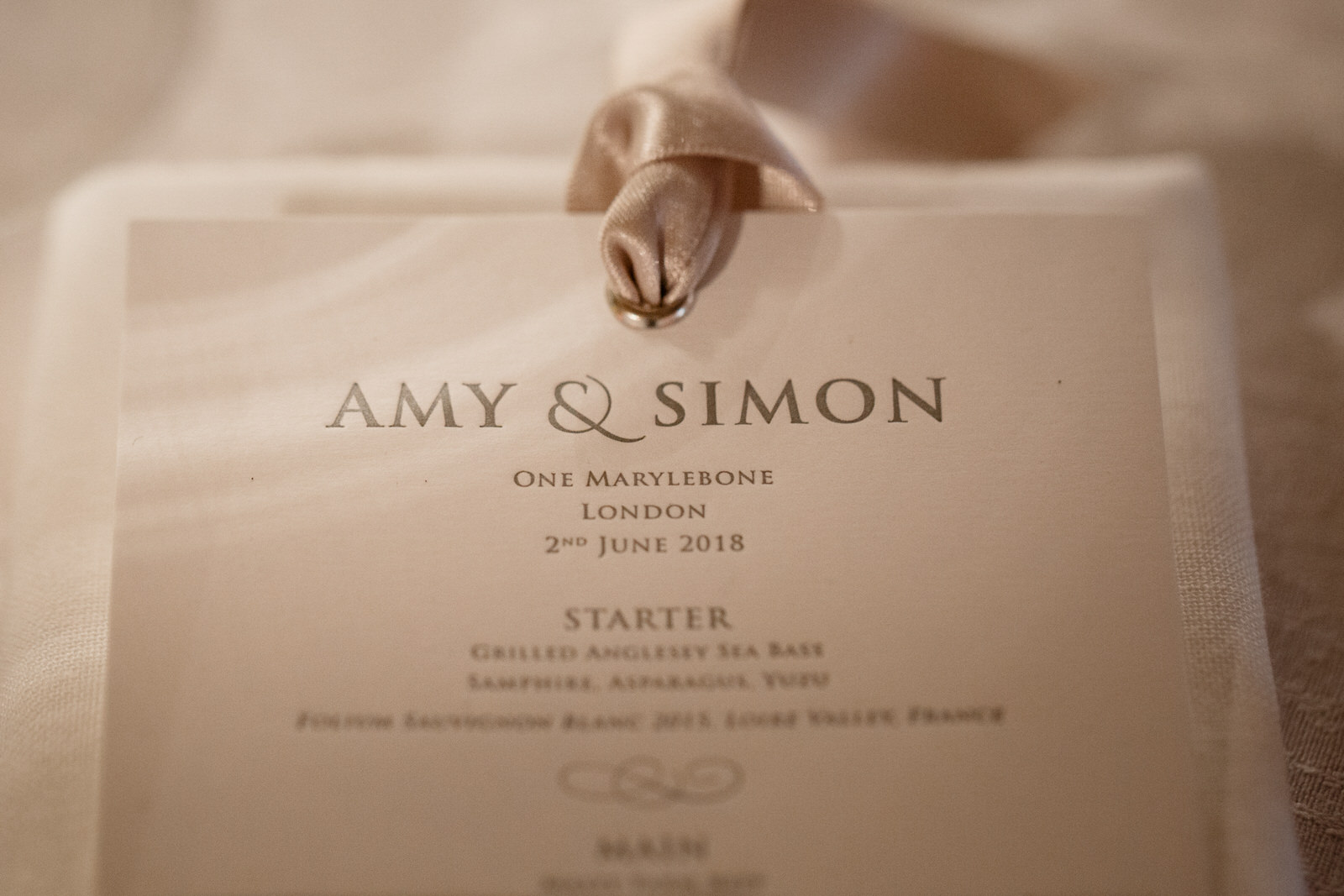 wedding details at one marylebone
