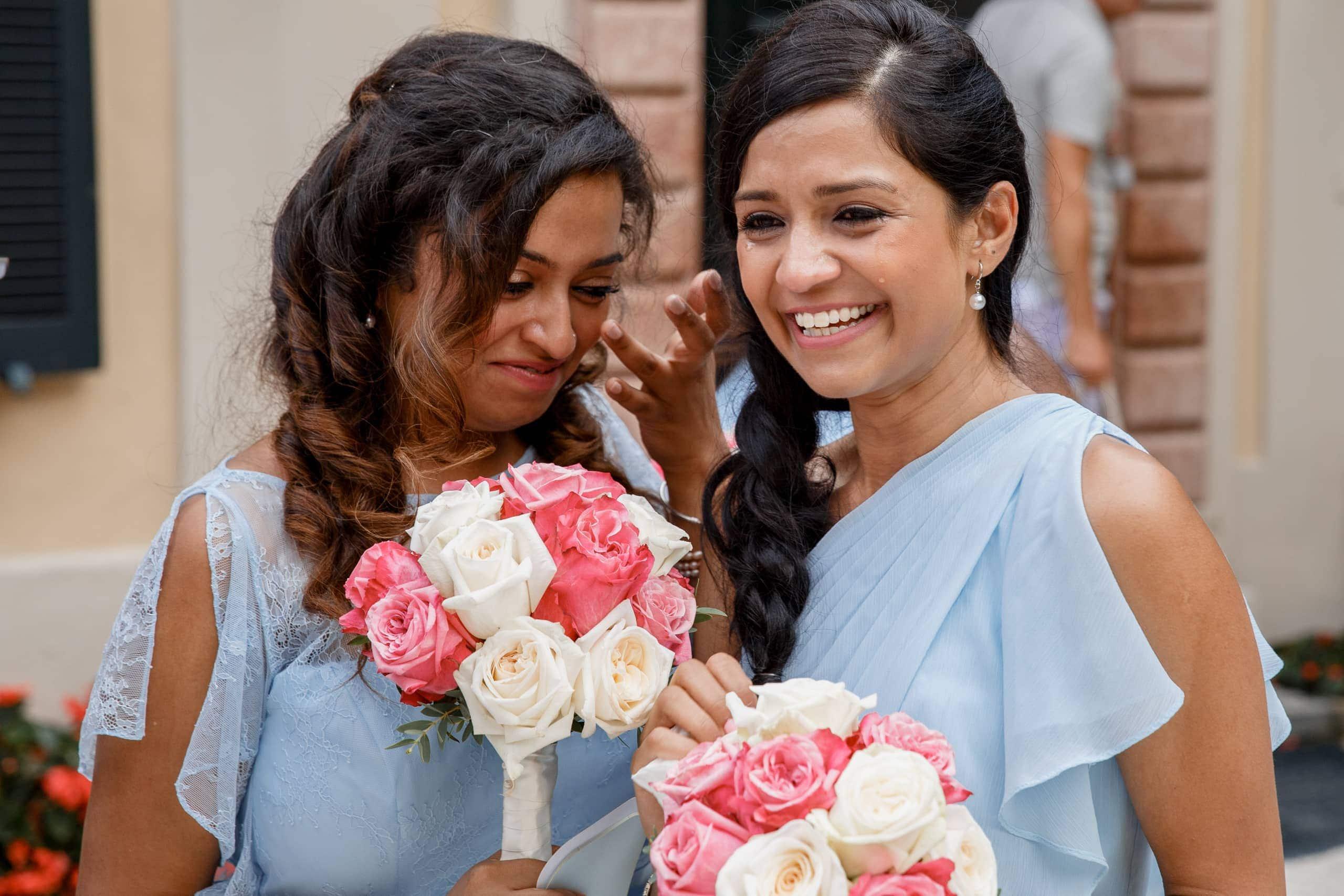 bridesmaids in tears at Villa Del Bilbanello wedding