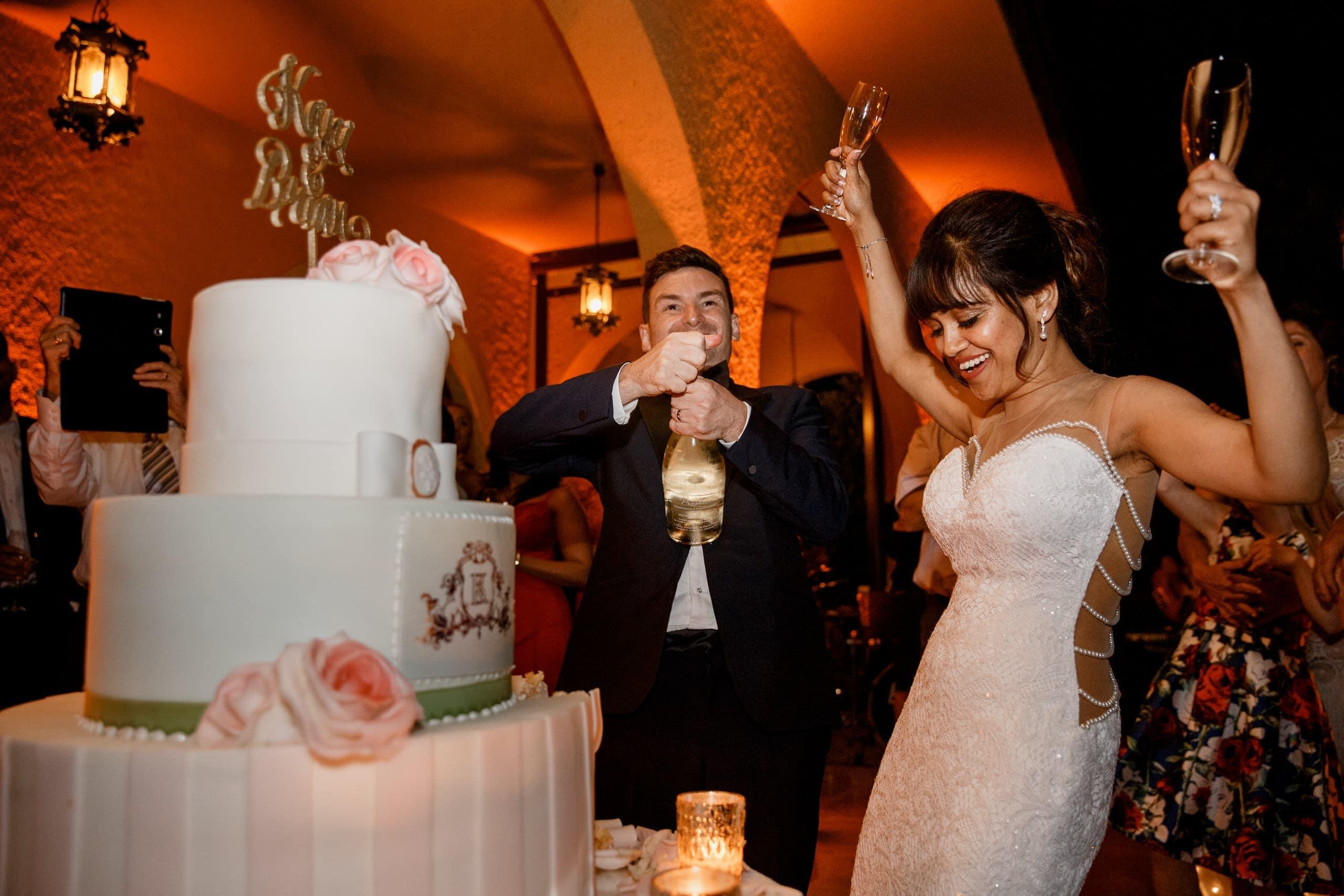 cake cut at lake como wedding in italy