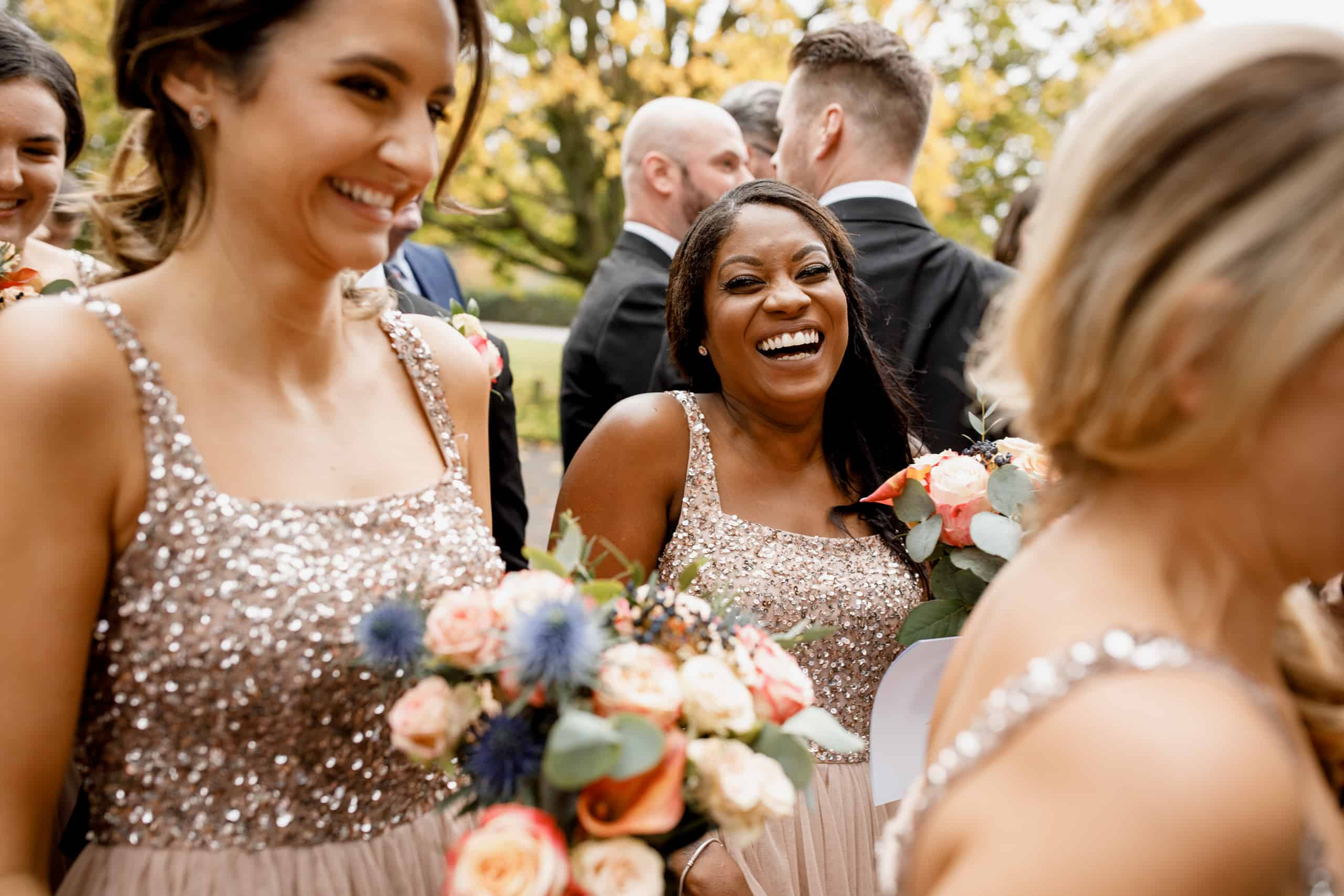 bridesmaids laughing at offley place wedding
