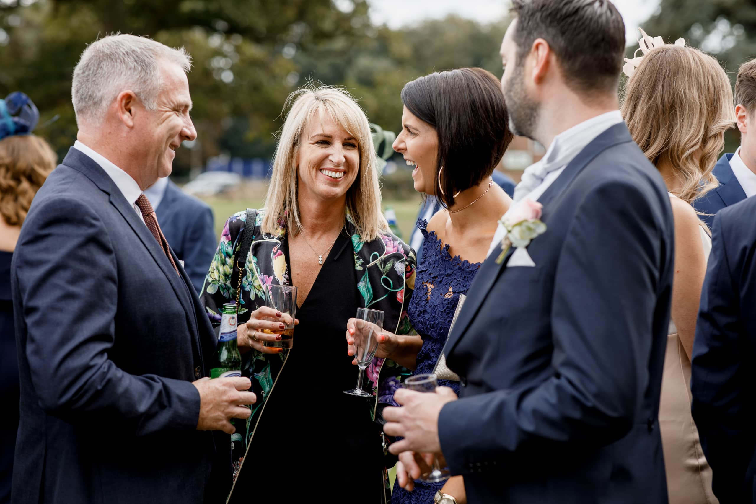 wedding guests in garden at offley place