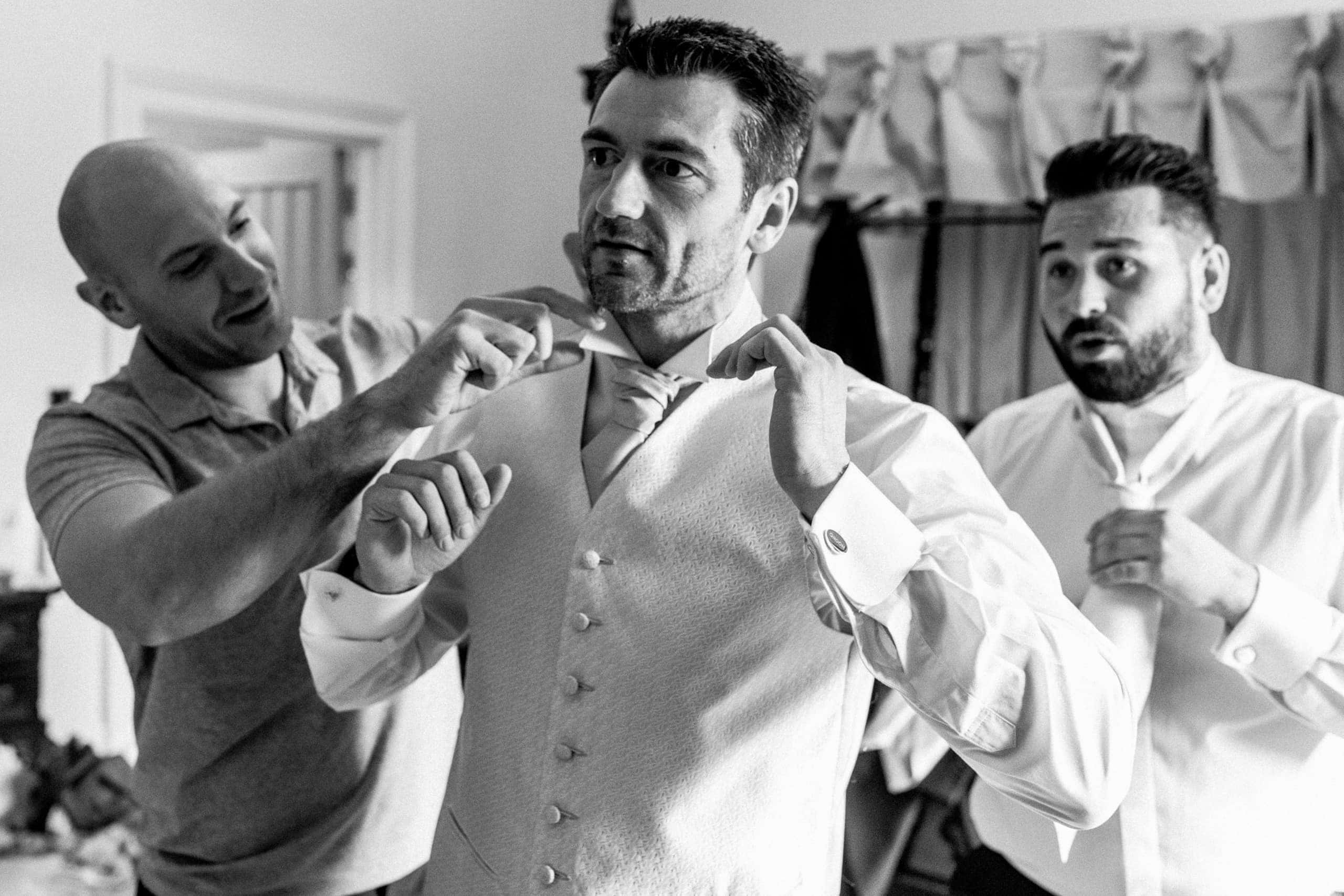 groom getting ready at offley place
