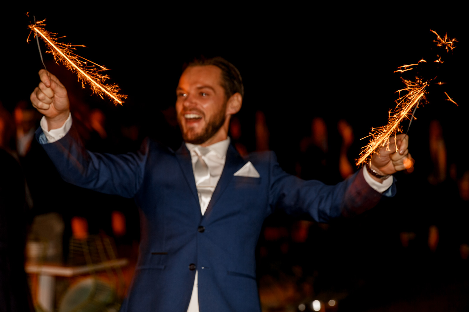 sparklers at stoke place wedding