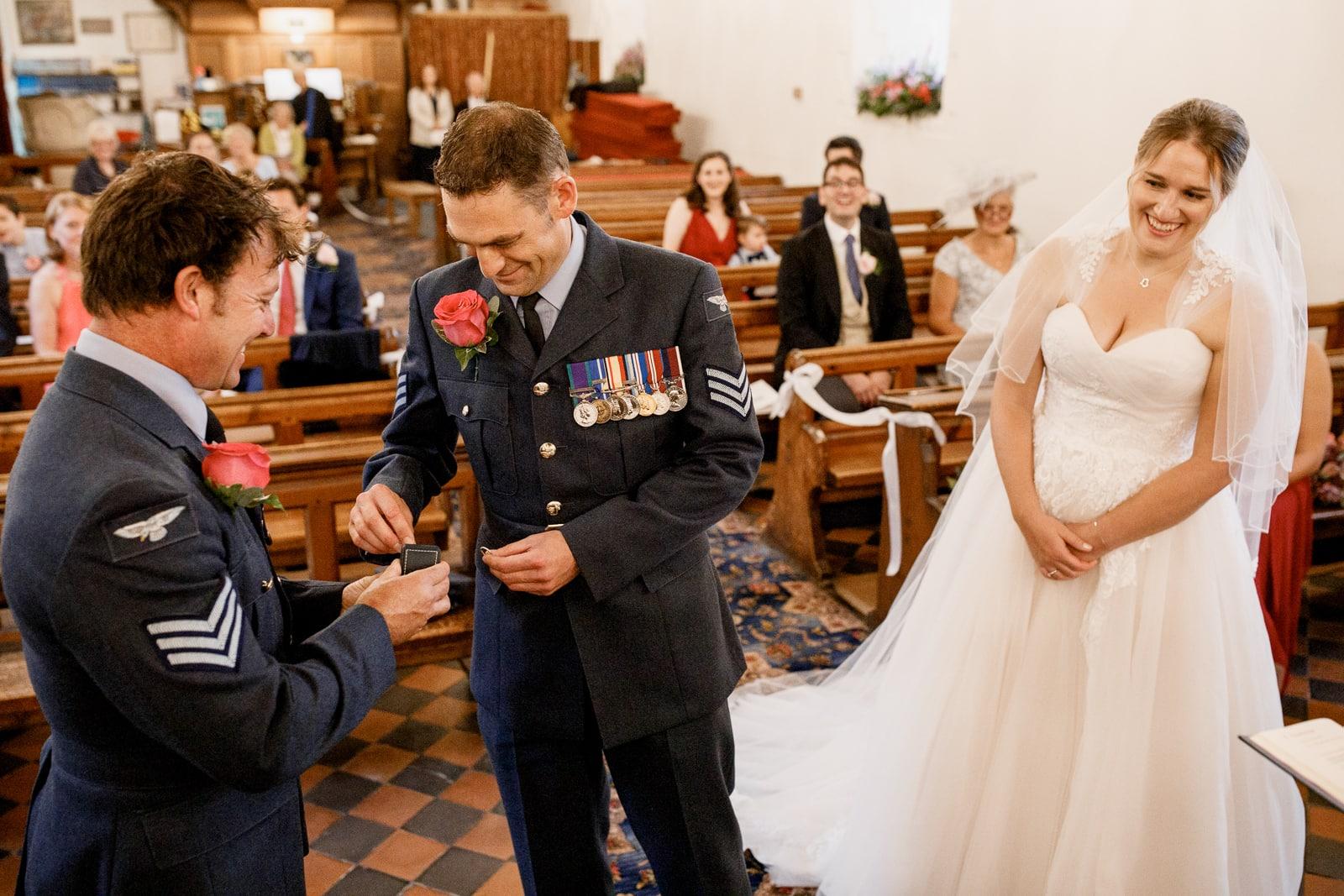 military groom at church