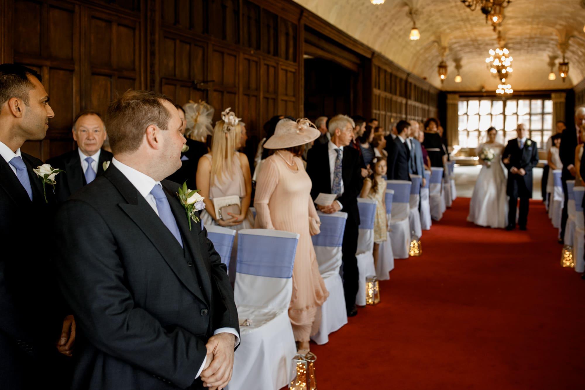 bride arriving at fanhams hall long room