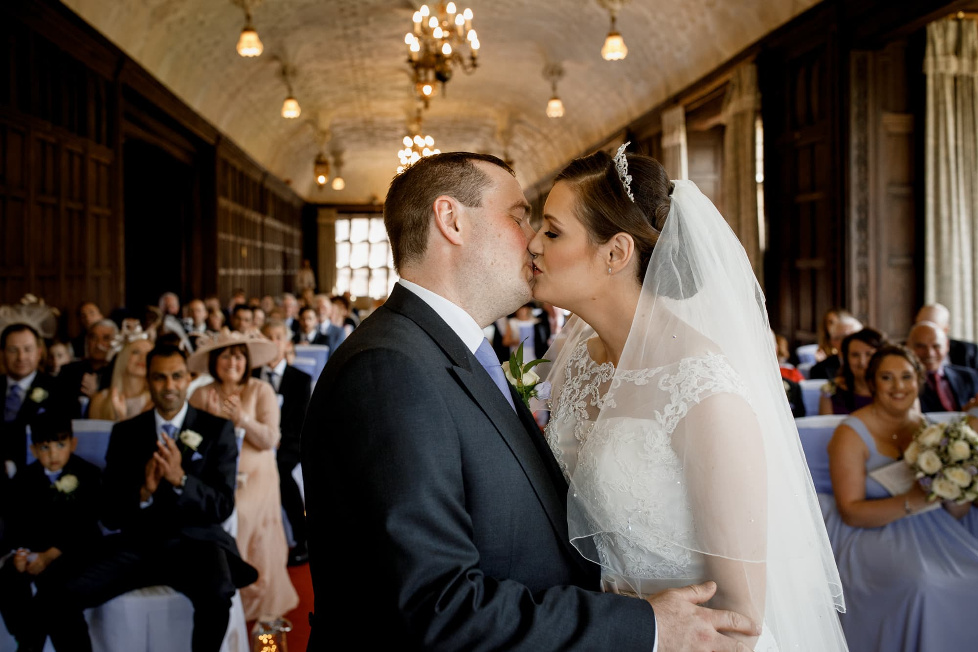 first kiss at fanhams hall wedding