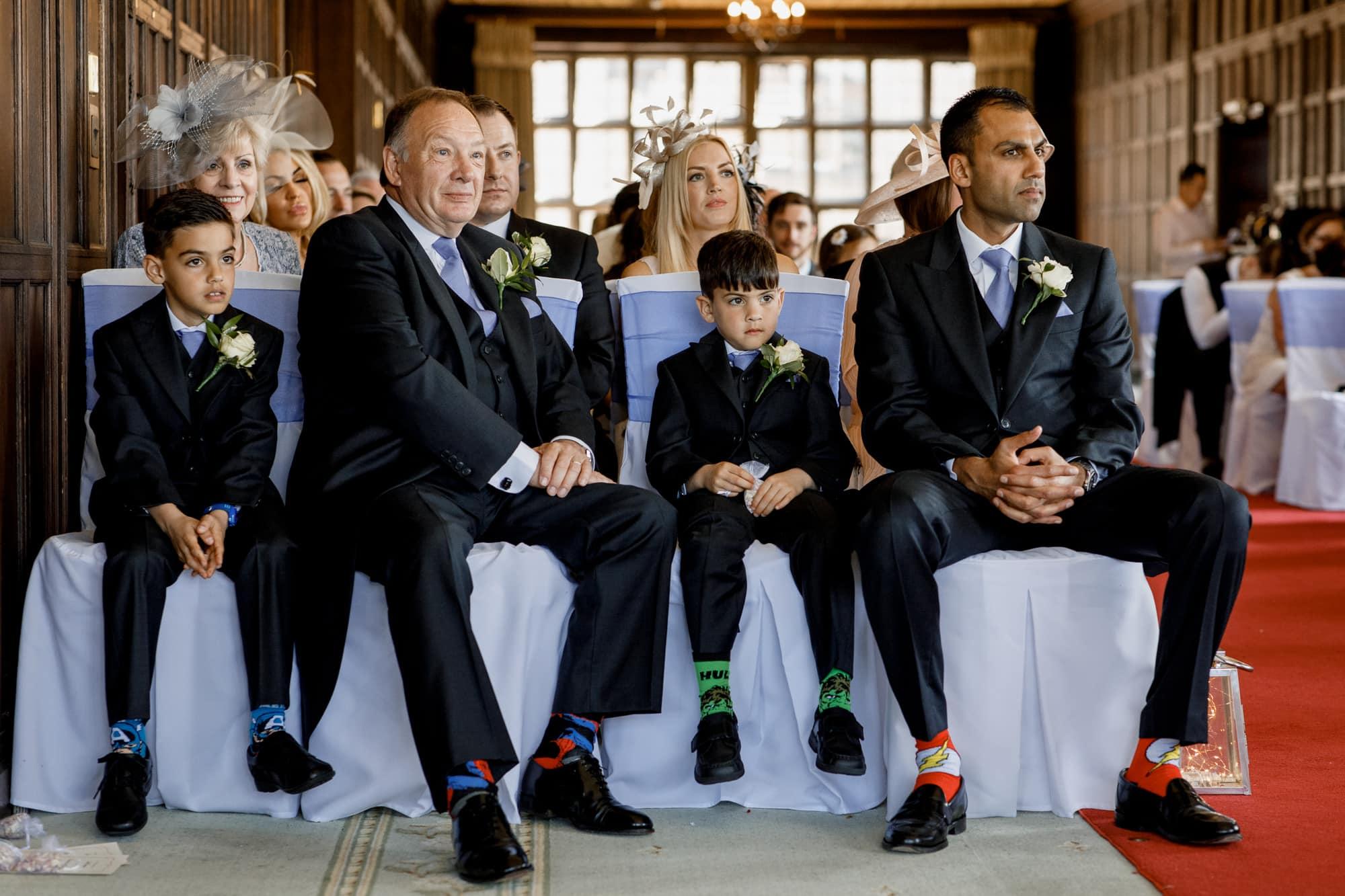 multi coloured socks at wedding