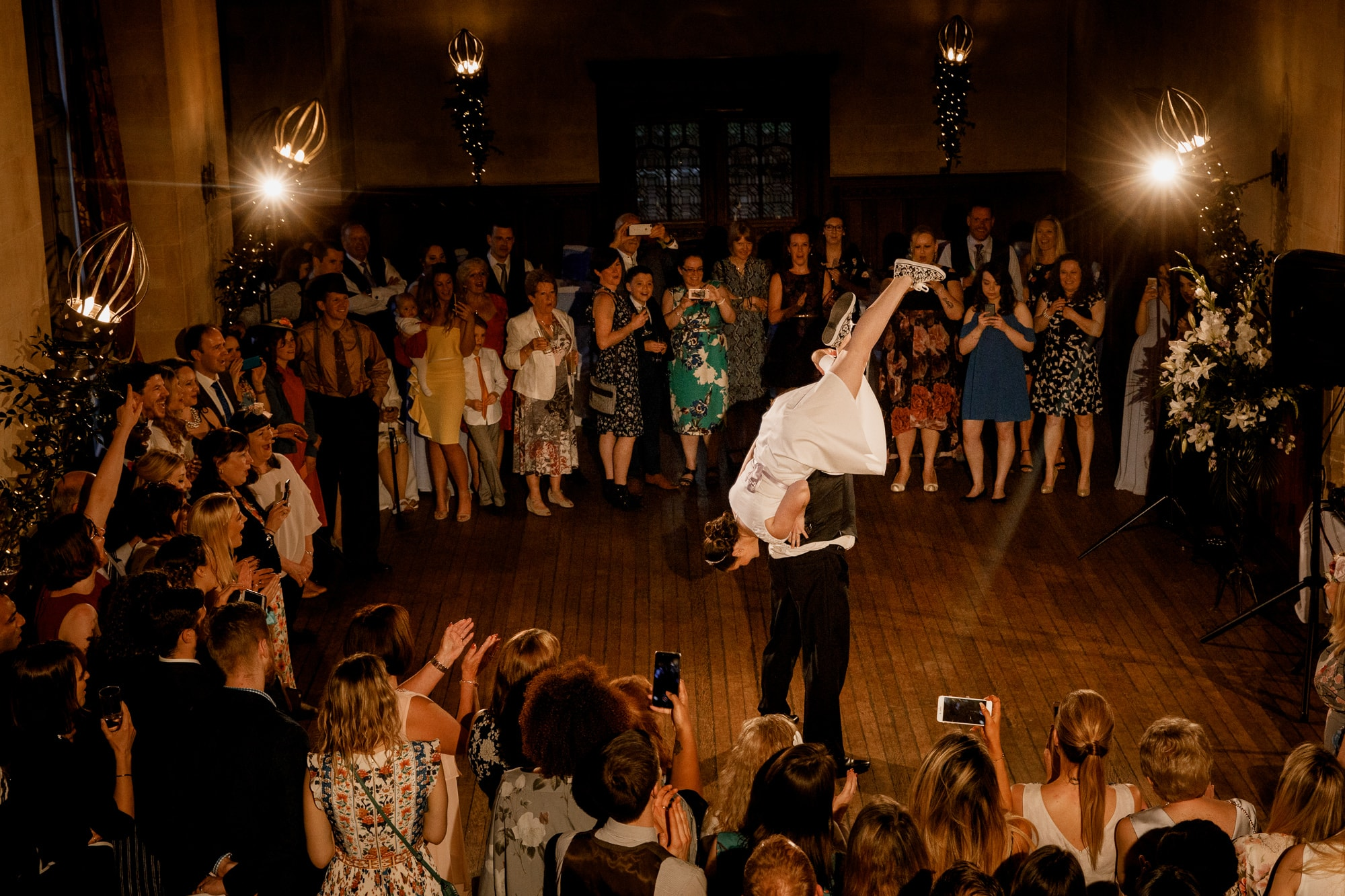 bride in air during first dance