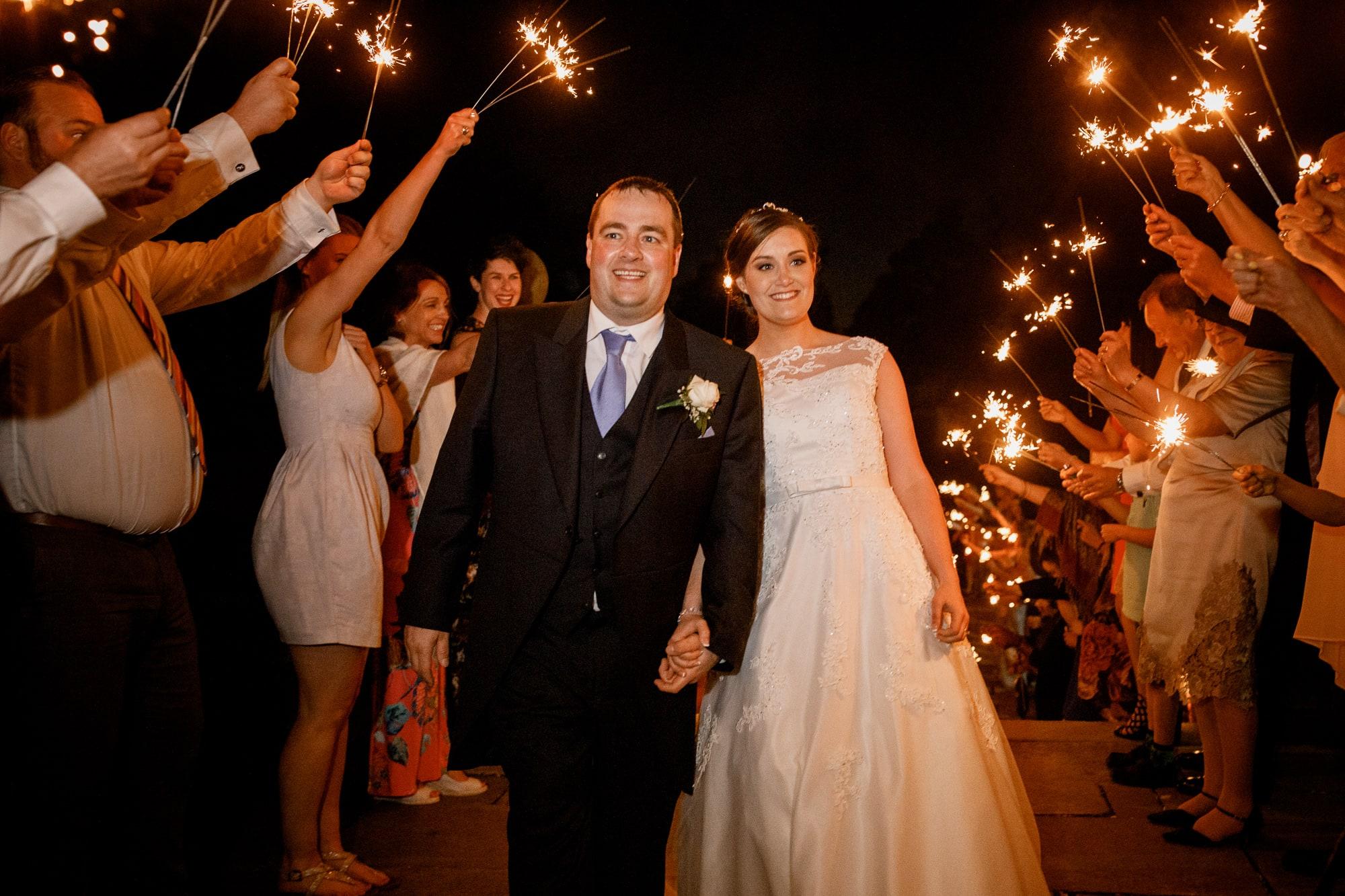 sparkler exit at fanhams hall wedding
