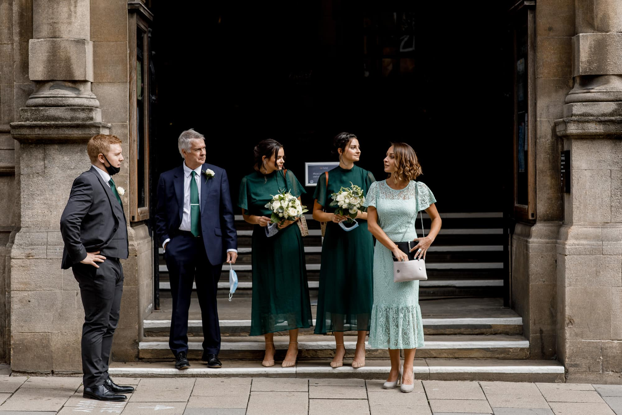 guests waiting outside oxford town hall wedding