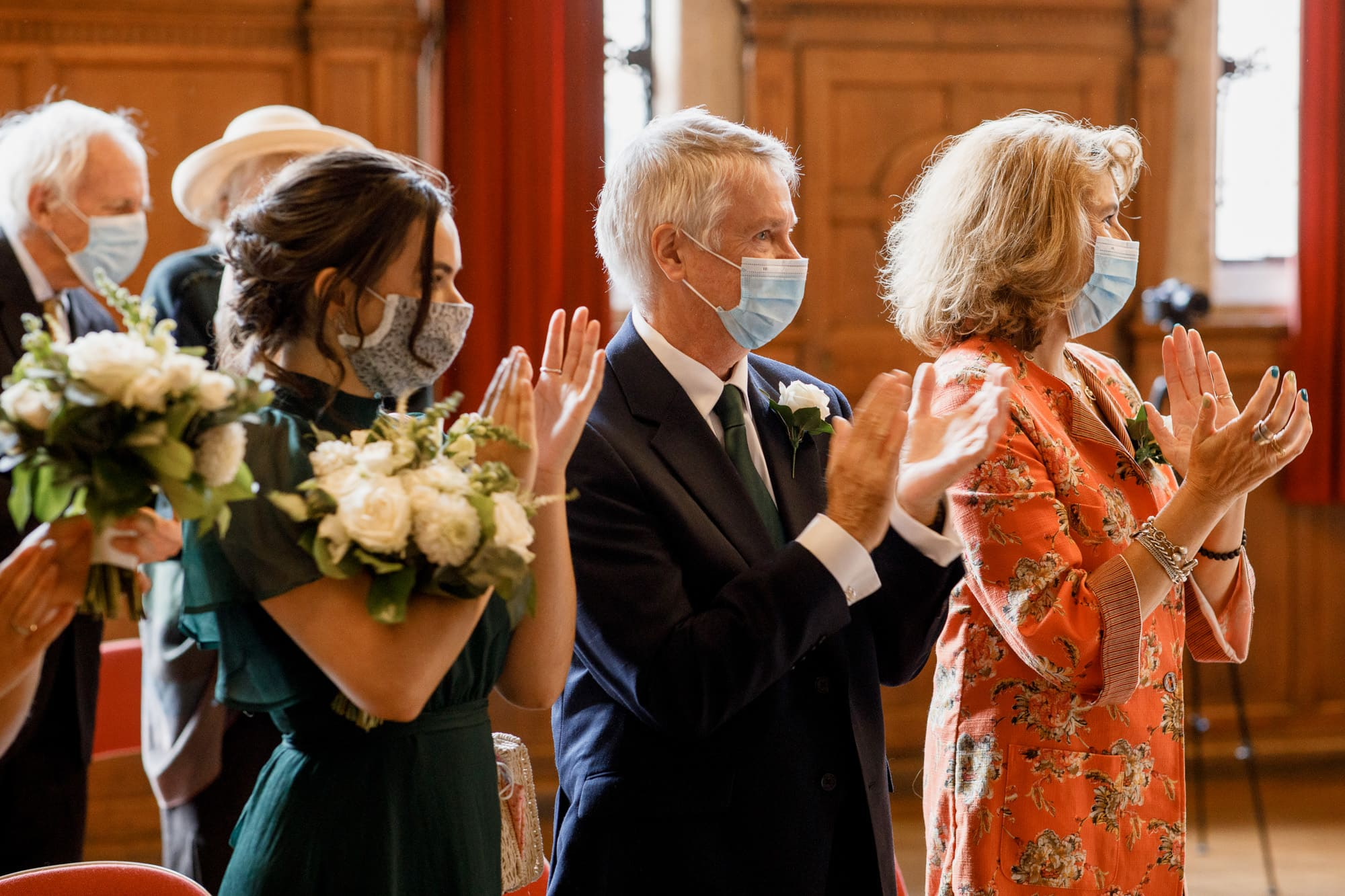 covid wedding with guests wearing masks