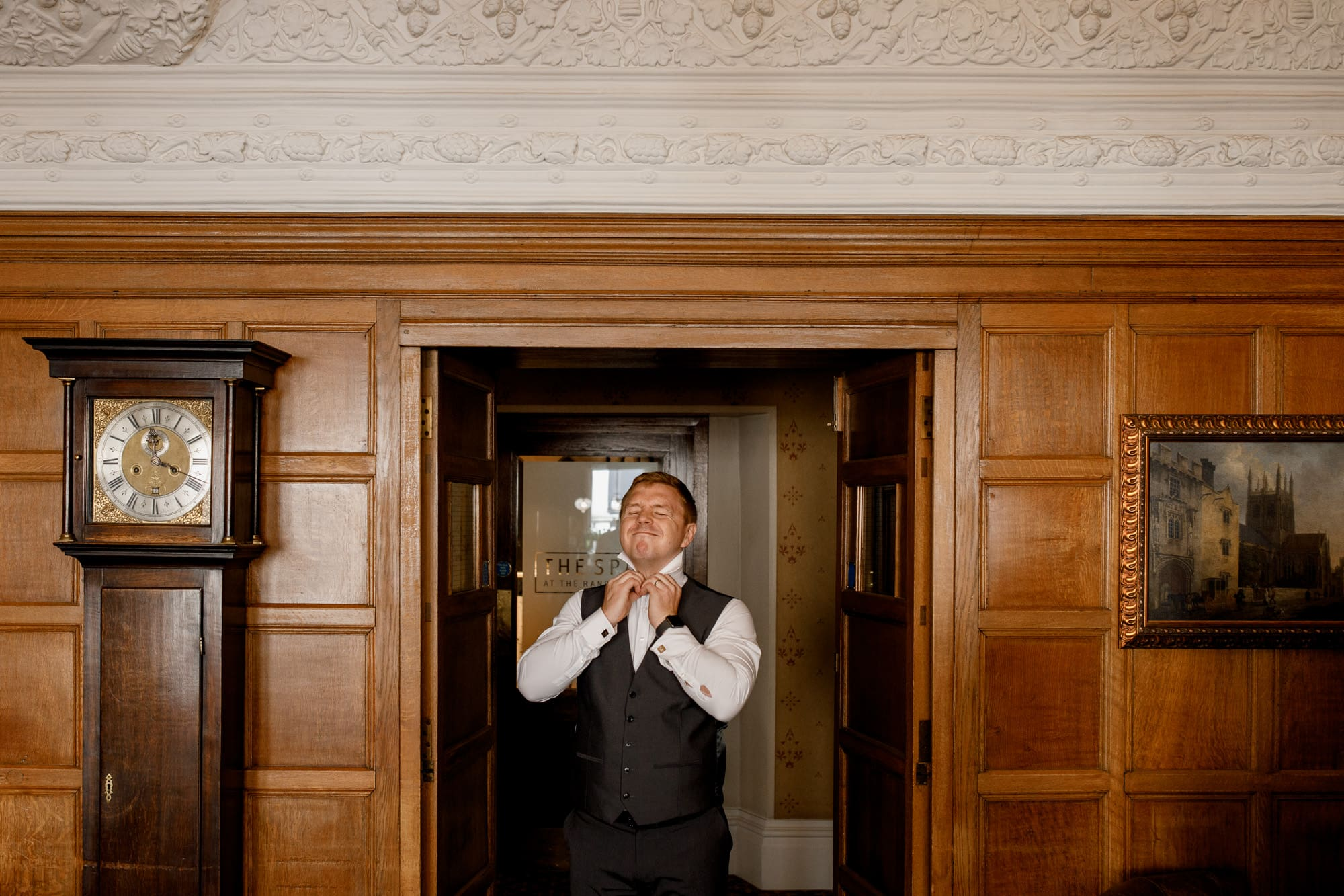 usher getting ready at the randolph hotel oxford
