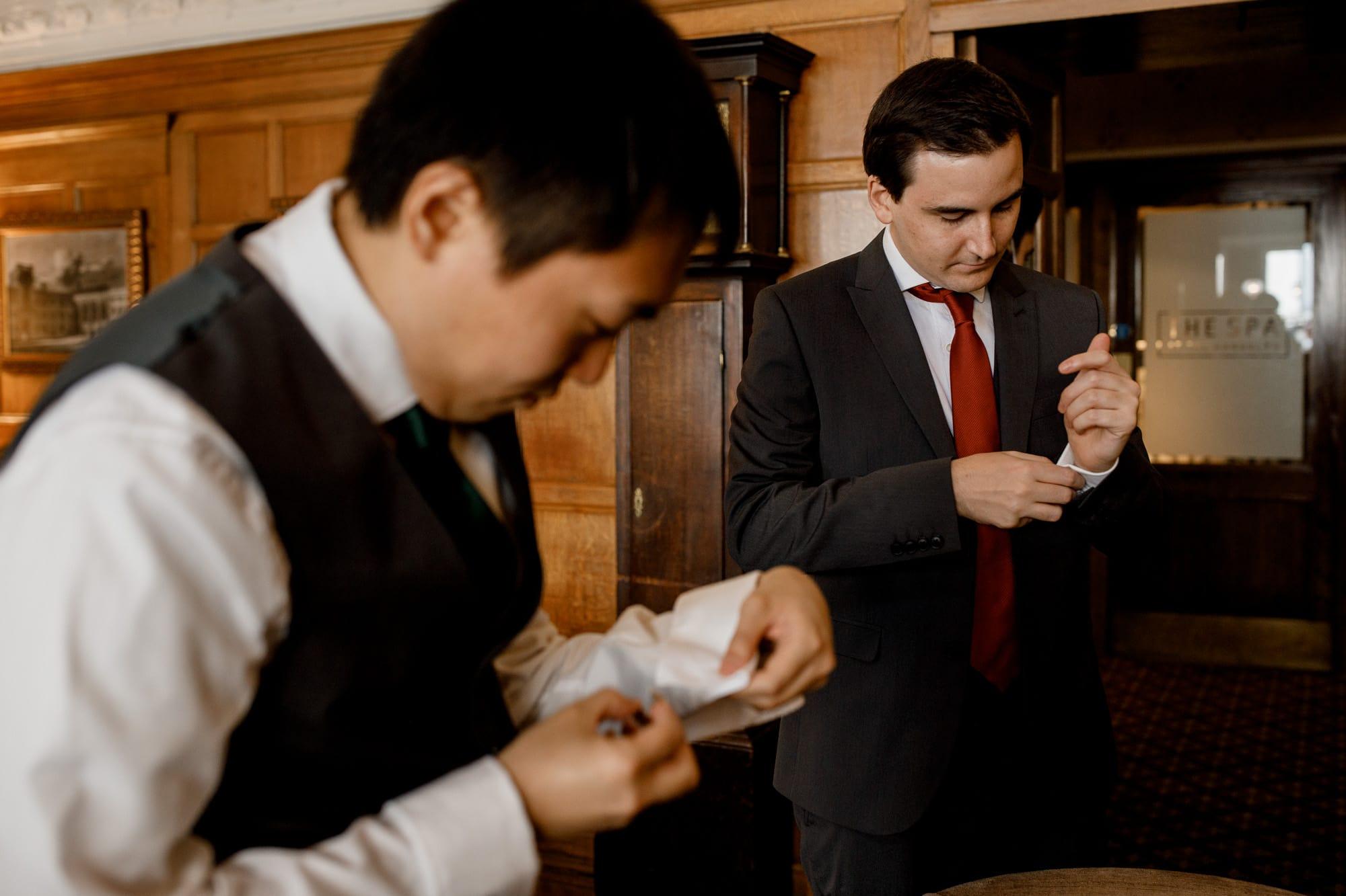 groom prep at the randolph hotel in oxford
